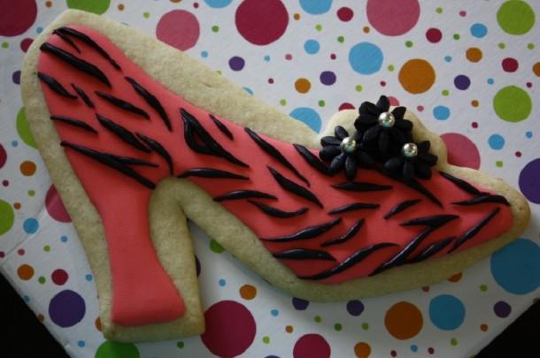 Large Zebra High Heel Cookie