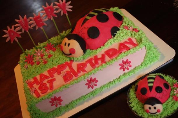 Ladybug Birthday cake with mini smash cake for baby.