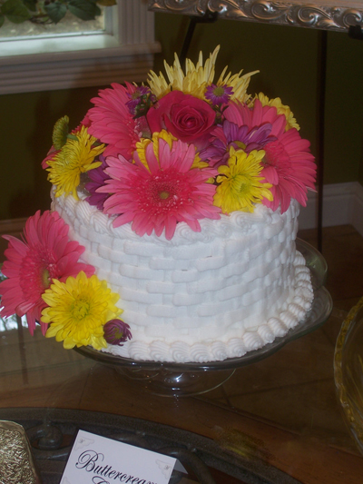 Shower Cake with live flowers.